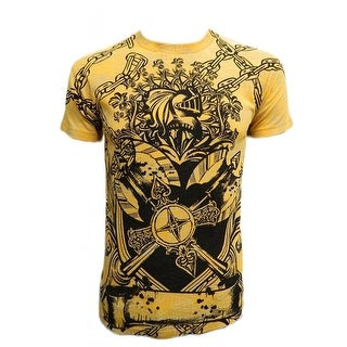Konflic Men's Shield Chained Knight Graphic Designer MMA T Shirt