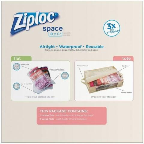 Ziploc 70311 Space Bag Vacuum Seal Bags & Jumbo Tote Pack, 5-Count