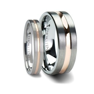 Matching Rings Set Flat Brush Finished Tungsten Carbide Ring With Rose Gold Plated Groove Center