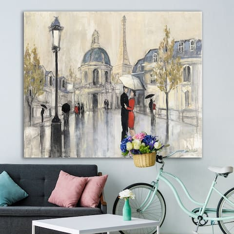 Designart 'Love in Paris I' Romantic French Country Gallery-wrapped Canvas - Multi-color