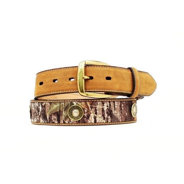 Nocona Western Belt Mens Leather Shotgun Shell Camo Brown