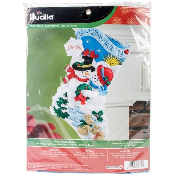"Your Love Melts My Heart Stocking Felt Applique Kit-18"" Long"