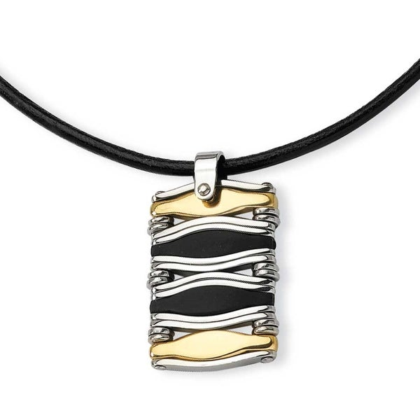 Chisel Stainless Steel Wavy Bar Gold Color IP-plated and Rubber Rectangle Pendant Necklace (3 mm) - 18 in