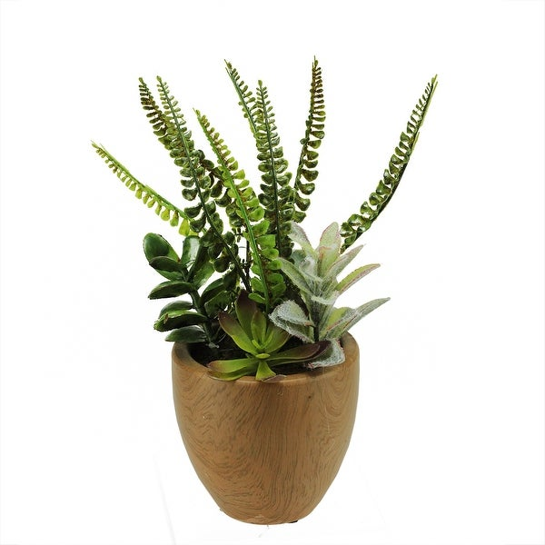 "12"" Artificial Mixed Succulents and Fern Plants in a Decorative Faux Wood Pot"