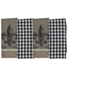 Set of 4 Decorative Fleur De Lis Jacquard and Check Cotton Kitchen Dishtowels