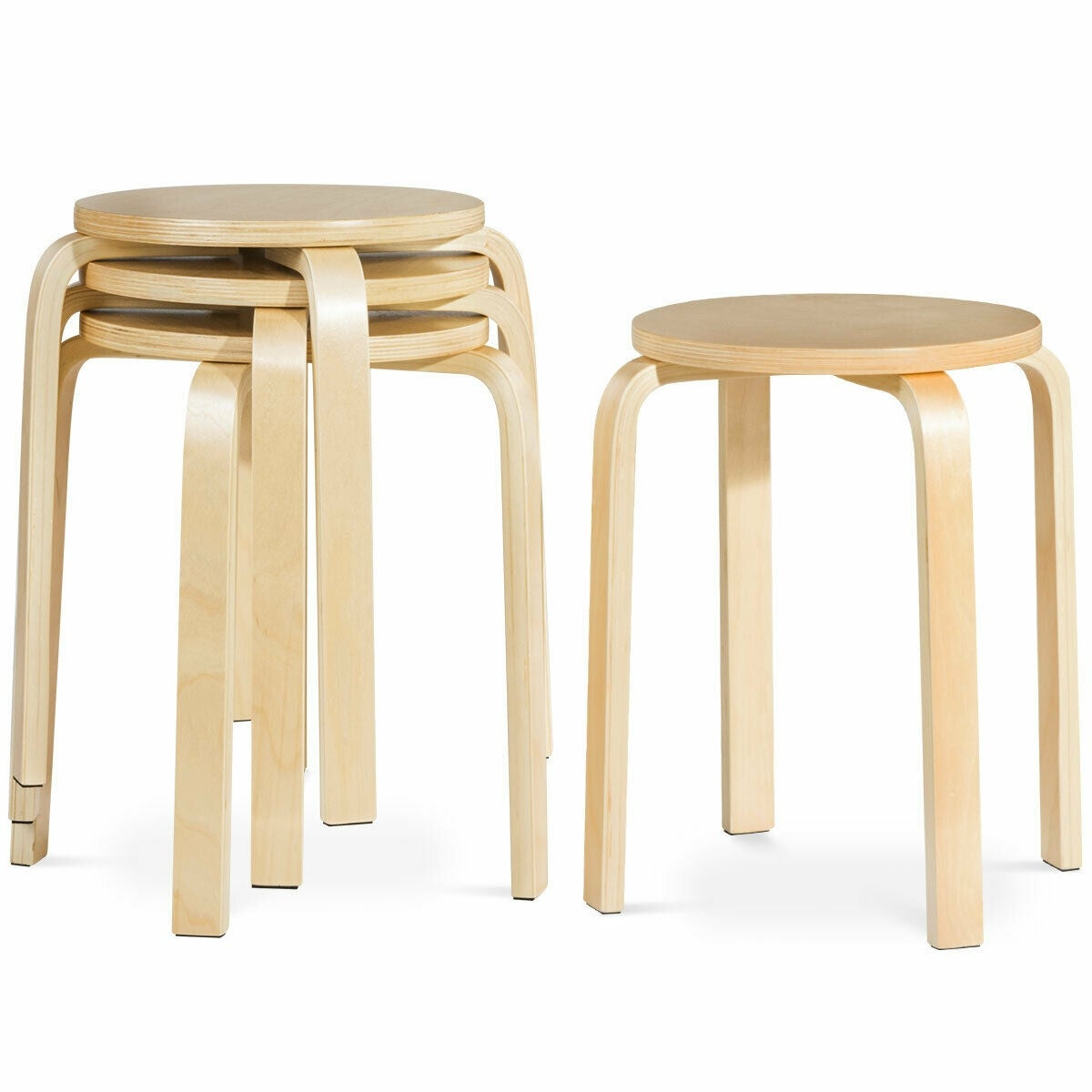 Prime Set Of 4 18 Stacking Stool Round Dining Chair Backless Wood Home Decor Unemploymentrelief Wooden Chair Designs For Living Room Unemploymentrelieforg
