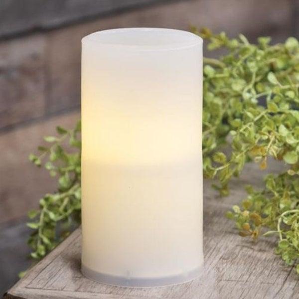 Warm Light White Timer Pillar Candle 3x6
