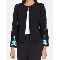 Tahari By ASL Black Womens Size 10 Floral Embroidered Jacket