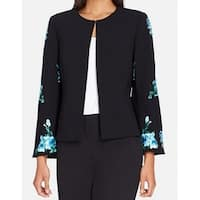 Tahari By ASL Black Womens Size 4 Embroidered Bell-Sleeve Jacket