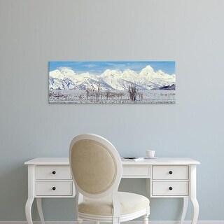 Easy Art Prints Panoramic Images's 'Grand Teton Range in winter, Wyoming, USA' Premium Canvas Art