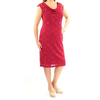CONNECTED Womens New 1220 Red Floral Sequined Lace Sheath Dress 14 B+B