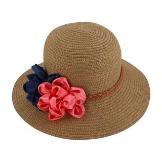 Lady Traveling Straw Braided Flowers Decor Beach Sun Bucket Hat Sunhat Khaki