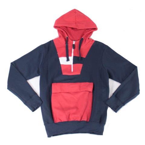 Black Jack Mens Sweater Blue Size Large L Colorblock Pocket Hooded