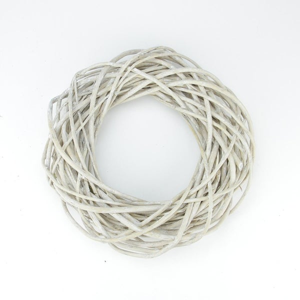 """12"""" White Pealed Weeping Willow Branches Artificial Spring Wreath"""