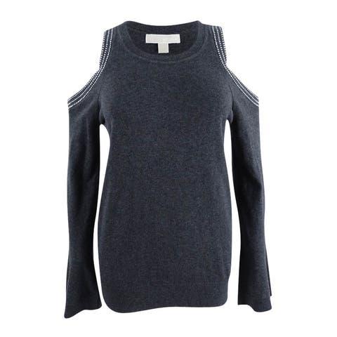 Michael Kors Women's Cotton Bell-Sleeve Cold-Shoulder Sweater