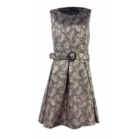 Nine West Women's Belted Metallic Jacquard Printed Dress - 8