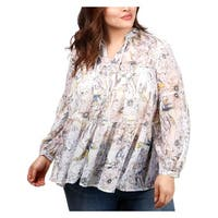 Lucky Brand Womens Plus Peasant Top Tiered Floral Print