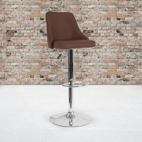 """Contemporary Adjustable Height Barstool in Dark Gray Fabric - Kitchen Furniture - 18""""W x 19""""D x 35.75"""" - 44.25""""H"""
