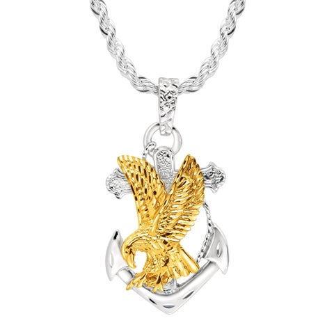 Men's Eagle on Anchor Pendant in 22K Gold over Sterling Silver - Two-tone