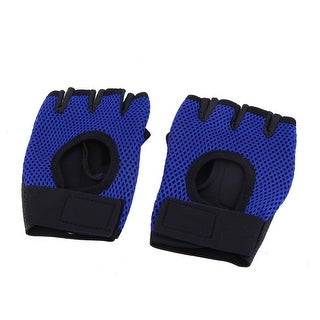 Athlete Spandex Hand Protector Support Half Finger Sporting Gloves Pair