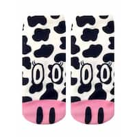 Cow Photo Print Ankle Socks - Black