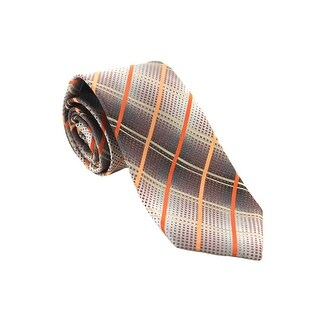 John Ashford Orange Multi Nickel Grid Necktie