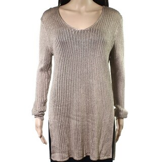 Polo Ralph Lauren NEW Beige Open-Stitch Knit Womens XL V-Neck Sweater