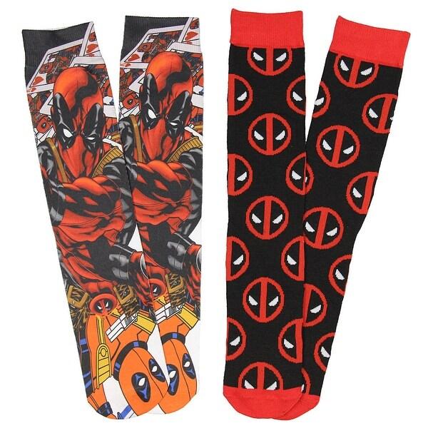 Marvel Deadpool Men's Photoreal Deadpool 2 Pack Crew Socks Size 6-12
