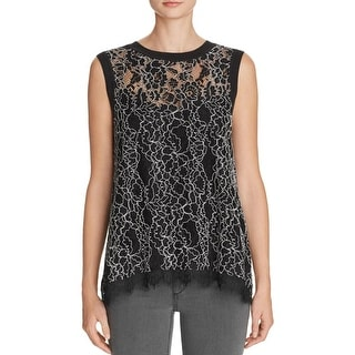 Generation Love Womens Tank Top Lace Ribbed Trim - xs