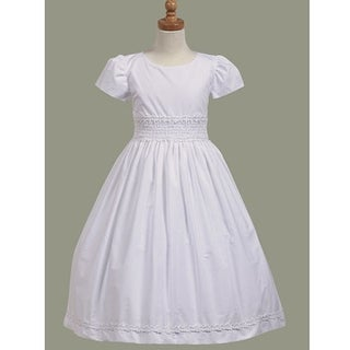 White Cotton Smocked Communion Short Sleeve Dress Size 7-12