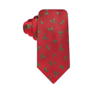 Tasso Elba Luxury Neckwear Mistletoe Holly Woven Classic Tie Red Clay