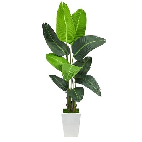"""5.5' Travelers Palm Artificial Tree in White Metal Planter - 15"""""""
