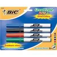 (6 Pk) Bic Great Erase Dry Erase Fine Point Markers 4 Per Pk