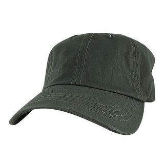 959 Series Curve Visor Cotton Unstructured Vintage Frayed Strapback Hat Cap - Charcoal - Grey