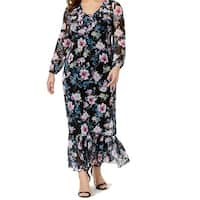NY Collections Blue Womens Size 2X Plus Floral V-Neck Maxi Dress