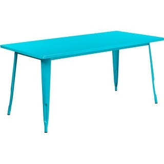 Brimmes Rectangular 31.5'' x 63'' Crystal Teal-Blue Metal Table for Patio/Bar