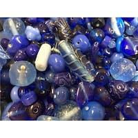 Stanislaus Glass Bead Mix, 1 Pound, Shades of Blue