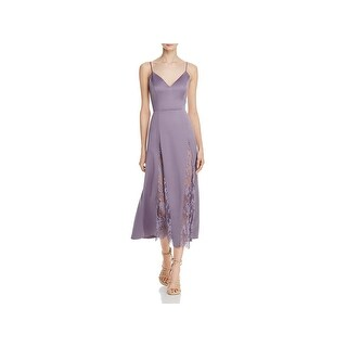NBD Womens Moon Slip Dress Satin Lace Inset