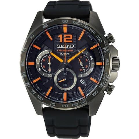 Seiko Men's SSB351 'Neo Sports' Chronograph Black Silicone Watch
