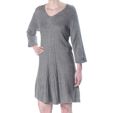 NY COLLECTION Gray Long Sleeve Above The Knee Dress XS