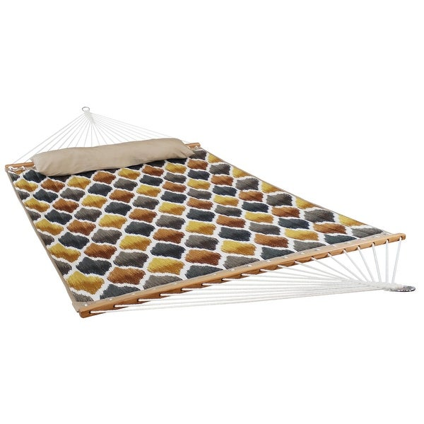 Quilted Double Fabric Hammock with Spreader Bars - Gold and Bronze Quatrefoil - Hammock ONLY