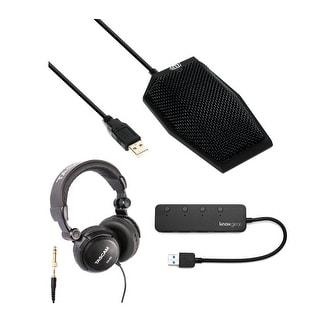 "MXL AC-404 USB-Powered Conferencing Microphone w/ Headphones & USB Hub - 4.3"" x 2.95"" x 2"""
