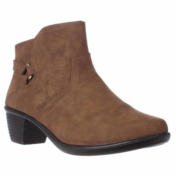Easy Street Dawnta Side Zip Ankle Boots, Brown Matte