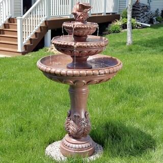 Sunnydaze 3 Tier Dove Pair Outdoor Water Fountain - Patio and Garden - 43-Inch