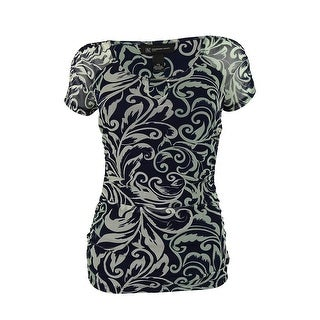 INC International Concepts Women's Short Sleeve Ruched Top - Wisteria Vines - PS