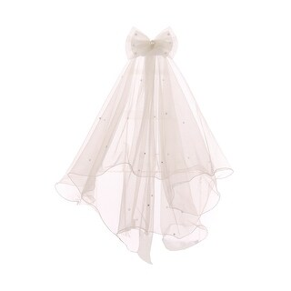 Girls Ivory Pearl Beads Double Layer Mesh Comb Communion Flower Girl Veil