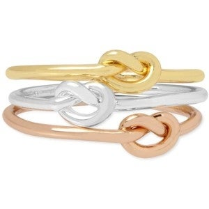Macys Hint of Gold 3-Pc. Set Tri-Tone Knot Rings in Silver