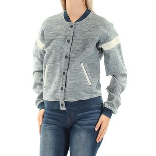GUESS $128 Womens New 1181 Blue Bomber Casual Jacket S B+B