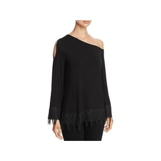 Love Scarlett Womens Blouse Sheer Lace Trim