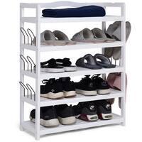 Costway 5-Tier Wooden Shoe Rack Shelf Storage Organizer Entryway W/ 6 Shoe Stretcher White